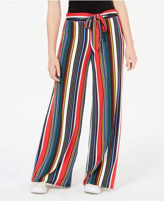 Ultra Flirt by Ikeddi Juniors' Striped Wide-Leg Soft Pants