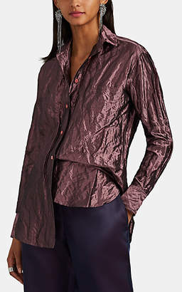 Sies Marjan Women's Sander Metallic Silk-Blend Taffeta Blouse - Wine
