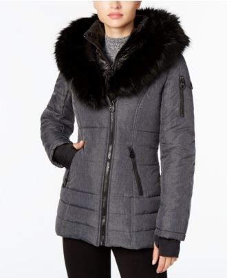 Laundry by Shelli Segal Faux-Fur-Collar Puffer Coat