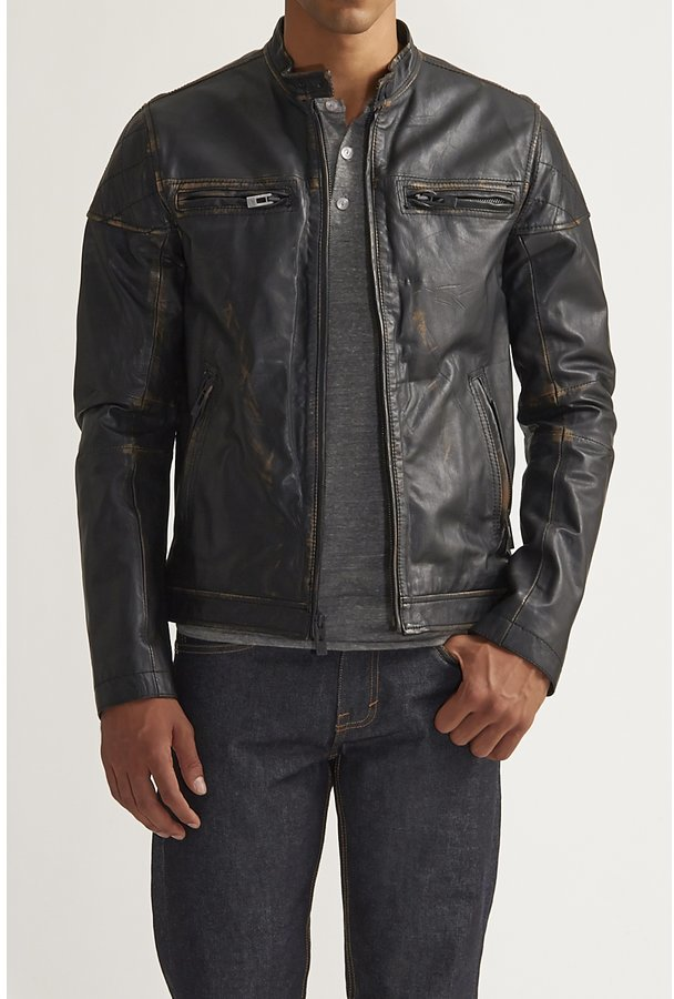 Rogue State Rogue State State High Collar Leather Coat Black