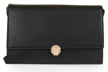 Topshop Topshop Ocean Faux Leather Crossbody Bag - Black