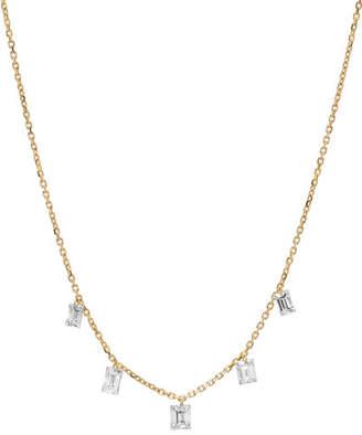 Nicha Jewelry 18k Floating Emerald-Cut 5-Diamond Necklace