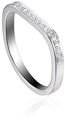 As 29 AS29 Women's 18ct White Gold Plated Sterling Silver Round White Diamonds Lana XS 1 Line Pinky Ring - Size F