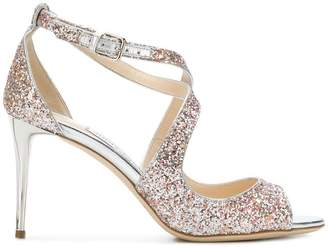 Jimmy Choo Emily 85 speckled glitter sandals