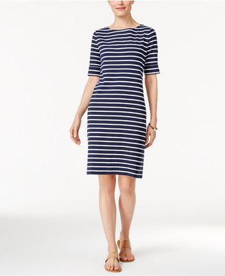 Karen Scott Striped T-Shirt Dress, Created for Macy's $44.50 thestylecure.com