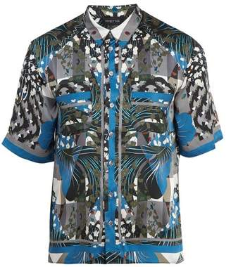 Meng - Geometric Print Short Sleeved Silk Pyjama Shirt - Mens - Blue