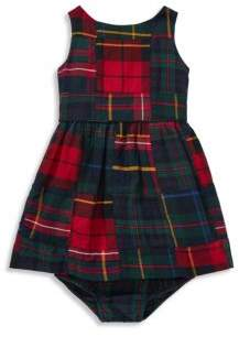 Ralph Lauren Baby Girl's Tartan Cotton Dress and Bloomers Set