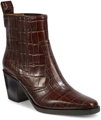 Ganni Western Textured Leather Booties