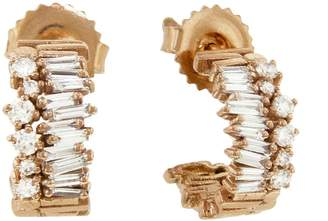 Suzanne Kalan Small Half Bliss Diamond Hoop Earrings - Rose Gold