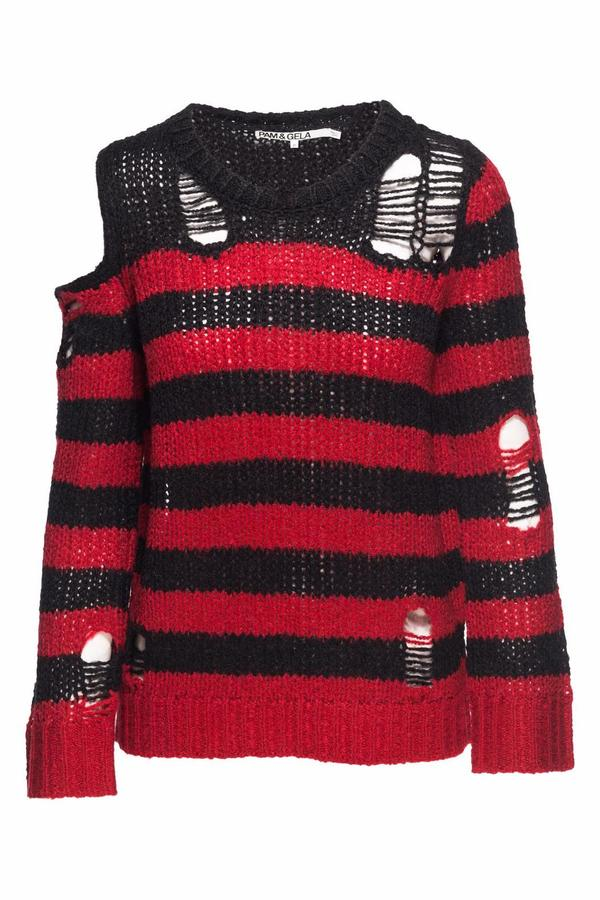 Pam & Gela Destructed Stripe Sweater