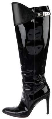 Gucci Pointed-Toe Knee-High Boots