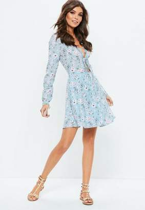 Missguided Blue Lace Trim Long Sleeve Skater Floral Dress