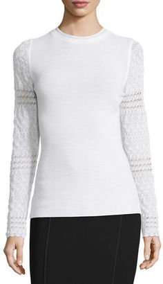 Elie Tahari Theresa Long Crochet-Sleeve Merino Sweater $248 thestylecure.com