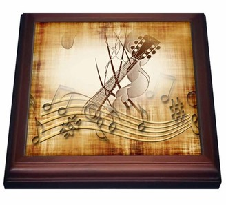 3dRose Brown grunge music note background with electric guitar art, Trivet with Ceramic Tile, 8 by 8-inch