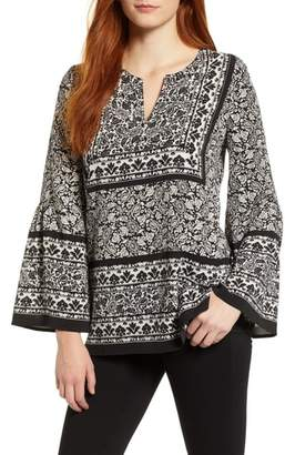 Chaus Woodblock Paisley Bell Sleeve Blouse