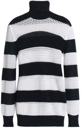 Michael Kors Open-Knit Striped Cotton-Blend Turtleneck Sweater