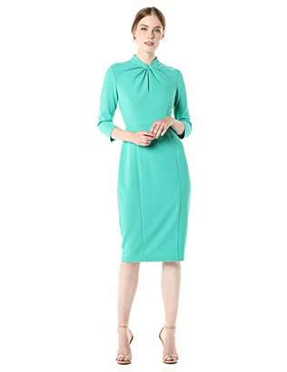 Donna Morgan Women's Stretch Crepe 3/4 Sleeve Twisted Neckline Sheath Dress
