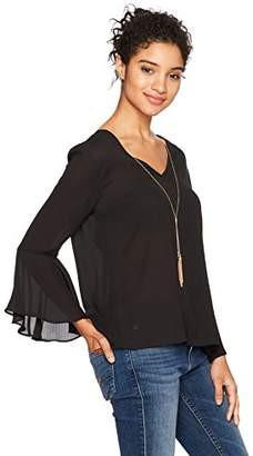 Amy Byer A. Byer Junior's Long Sleeve V-Neck Top with Tie Back (Junior's)