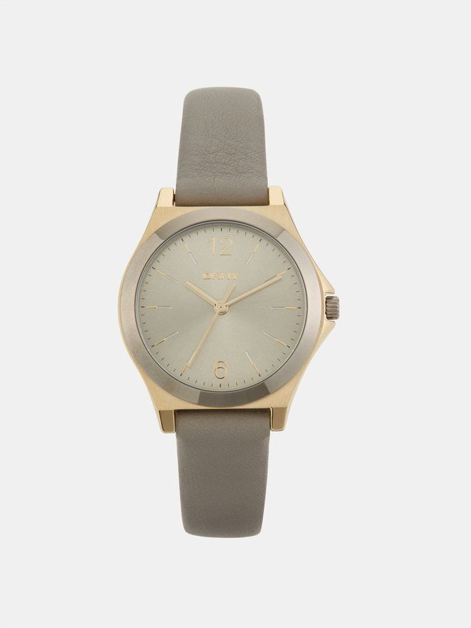 DKNY Parsons Gray Leather And Two-Tone Watch