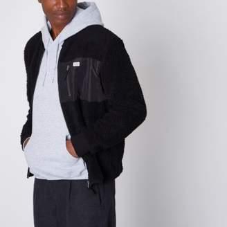 River Island Jack and Jones black fleece zip-up jacket