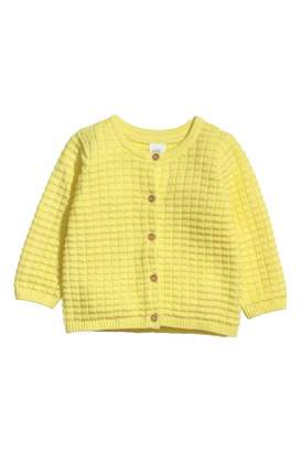 H&M Textured-knit Cardigan - Light yellow - Kids