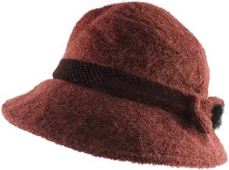 5b62a21212f Cloche Morehats Wool Furry Textured Warm Bucket Packable Winter Hat with  Bow Trim