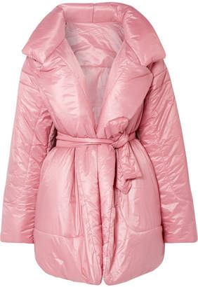 Norma Kamali Belted Quilted Shell Coat - Baby pink