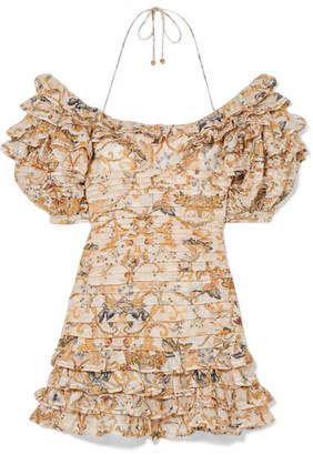 Zimmermann Off-the-shoulder Printed Linen And Silk-blend Mini Dress