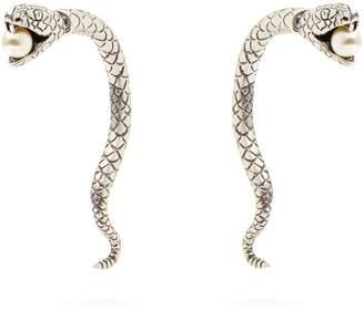 Saint Laurent Snake with faux-pearl earrings