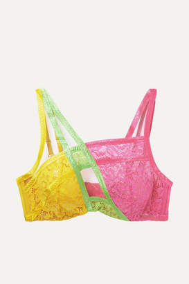 eb9112770b Agent Provocateur Marty Neon Mesh-trimmed Color-block Stretch-lace  Underwired Bra -