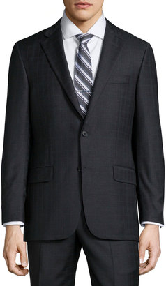 Hickey Freeman Classic-Fit Plaid Wool Suit, Charcoal $699 thestylecure.com