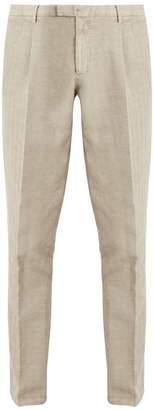 Boglioli Slim Leg Cotton Blend Herringbone Trousers - Mens - Beige