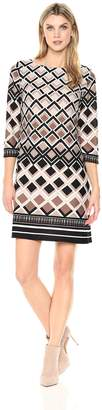 Sandra Darren Women's 1 Pc 3/4 Sleeve Geo Printed Knit Sheath Dress