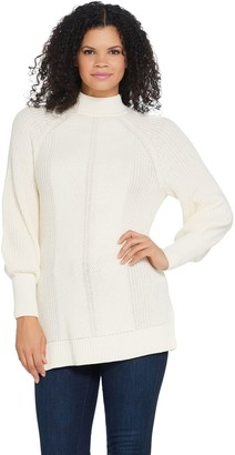Isaac Mizrahi Live! Bishop Sleeve Engineered Stitch Sweater