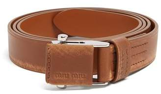 Miu Miu Distressed Leather Belt - Womens - Brown