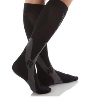 BEIGE Beauty America New Women's Graduated Compression Socks Ideal for Travel Sports Nurses - Black And Grey