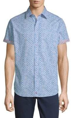 Robert Graham Erby Short-Sleeve Cotton Button-Down Shirt