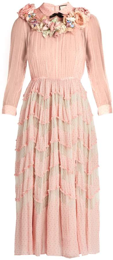 GUCCI Floral-embellished silk-blend plumetis gown
