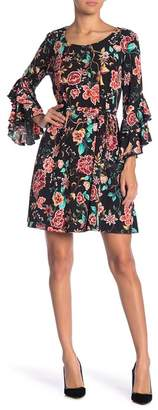 Robbie Bee Floral Bell Sleeve Dress