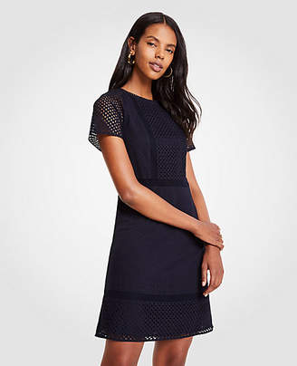Ann Taylor Petite Mixed Eyelet Shift Dress