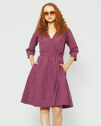 afbf00219f Linen Wrap Dress - ShopStyle Australia