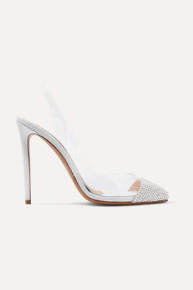 Alexandre Vauthier Amber Ghost Crystal-embellished Leather And Pvc Slingback Pumps - White