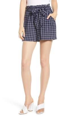 BP Plaid Paper Bag Waist Shorts