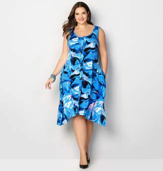 Avenue Abstract Swirl Sharkbite A-Line Dress