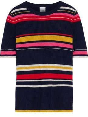 Iris & Ink Bella Striped Ribbed Wool-blend Top