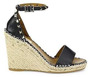 Valentino Women's Rockstud Leather Espadrille Wedge Sandals