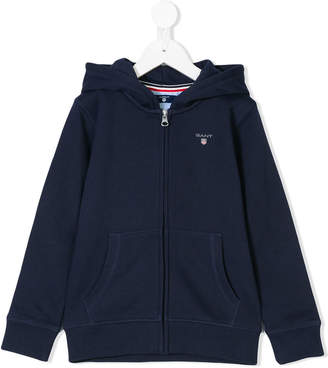 Gant Kids embroidered logo zipped hoodie