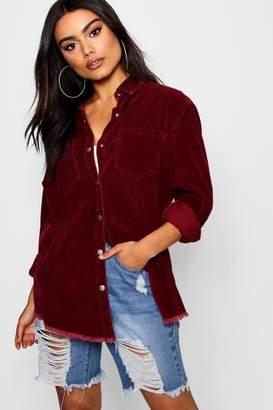 boohoo Carli Burgundy Cord Raw Hem Shirt