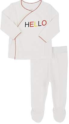 """Lisa Perry Infants' """"Hello""""-Print Cotton Kimono Top & Footed Pants"""