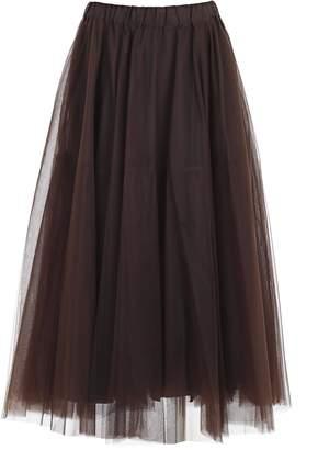 P.A.R.O.S.H. Tulle Fringed Midi Skirt